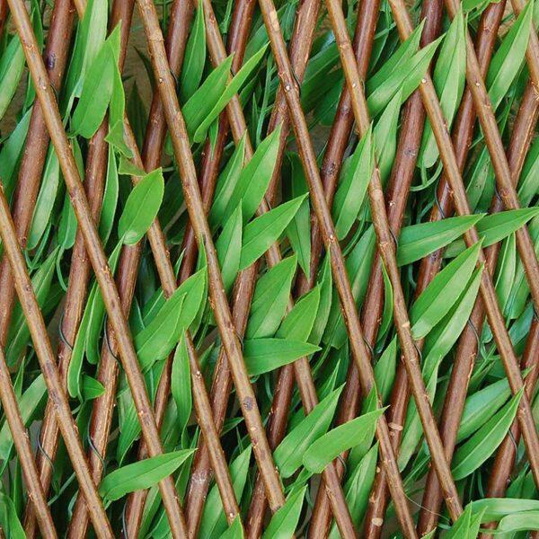 Mākslīgais dzīvžogs ar bambusa lapām uz bīdāma režģa 1x2m