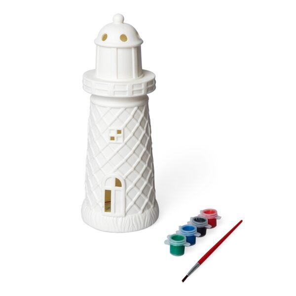 Galda lampa ar krāsām un otu, bākas formā
