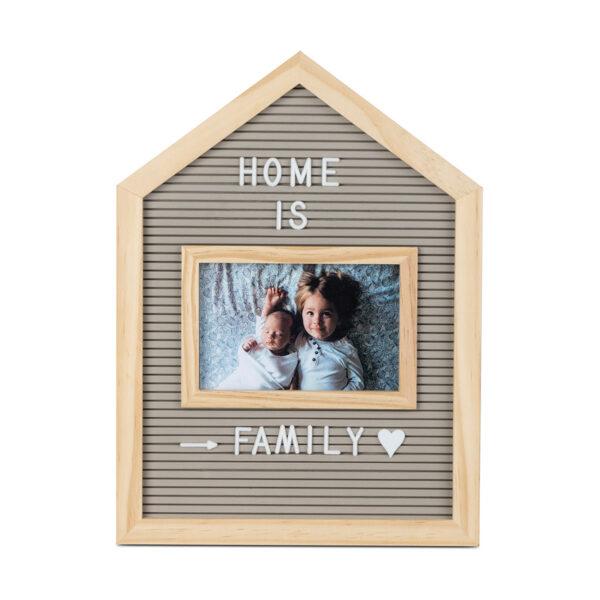 Foto rāmis un burtu tāfele Home 10x15, pelēks koks