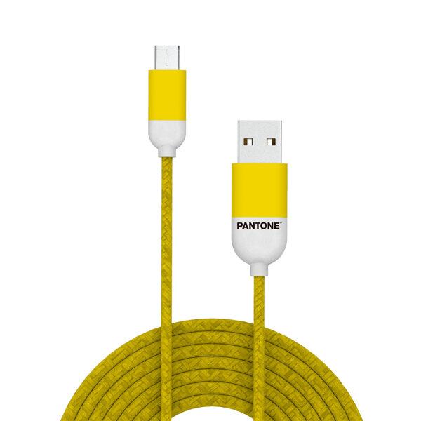 Kabelis Micro USB 1m Pantone dzeltens